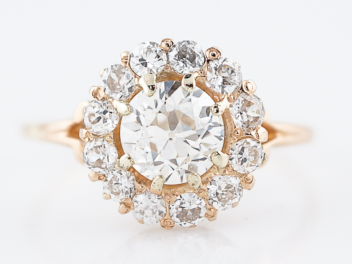 57570f2dc6221 Antique Engagement Ring Victorian 1.01 Old European Cut Diamond in 14k  Yellow Gold