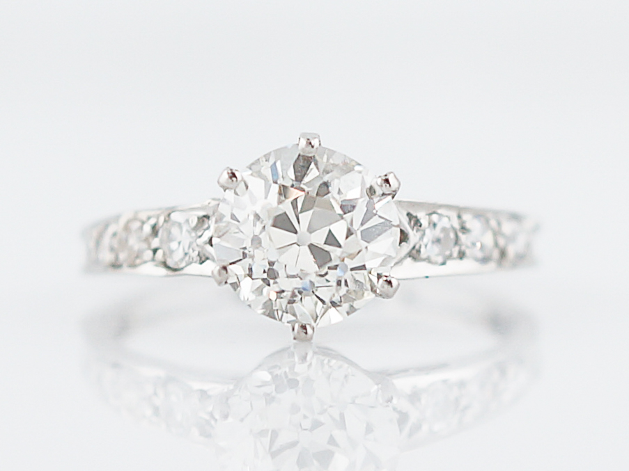 Crown Basket Antique Solitaire Diamond Engagement Ring