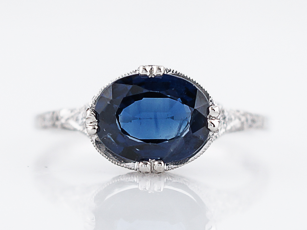 Engagement Ring Modern 1 42 Oval Cut Sapphire Amp 52 Round