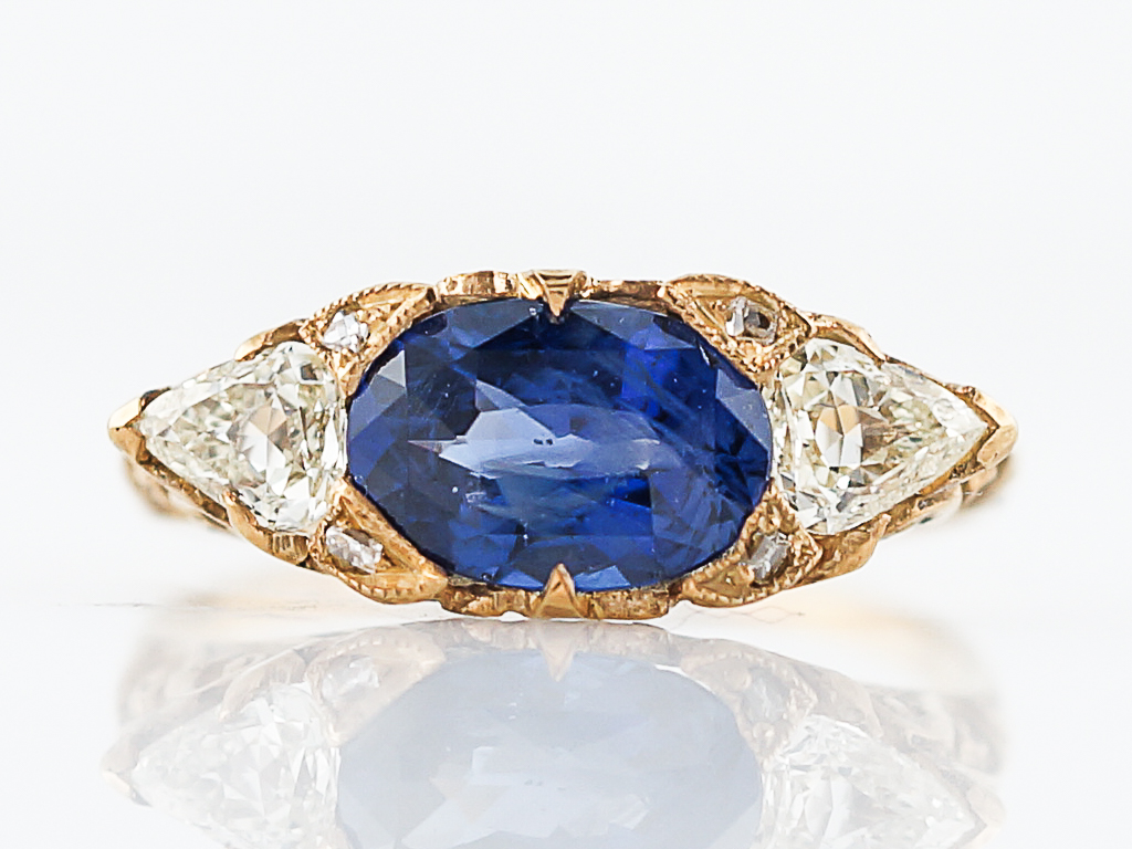 2 Carat Blue Sapphire Ring w/Trilliant Cut Diamonds
