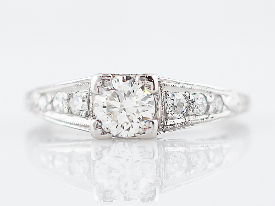 Perfect Art Deco Diamond Engagement Ring in Platinum