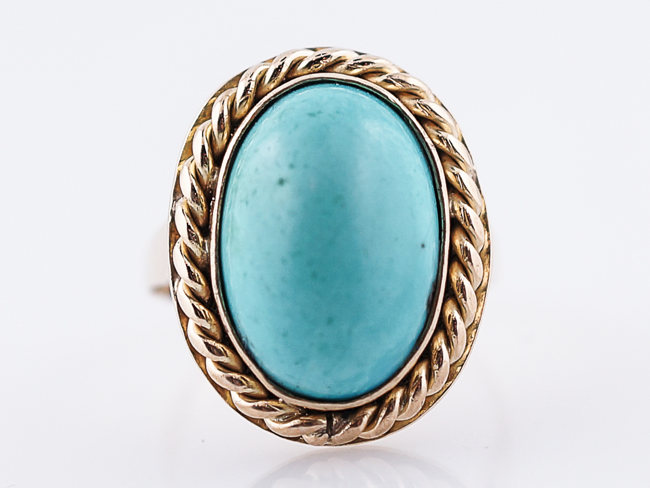 Vintage Right Hand Ring Retro 6.00 Cabochon Oval Cut Turquoise in ...