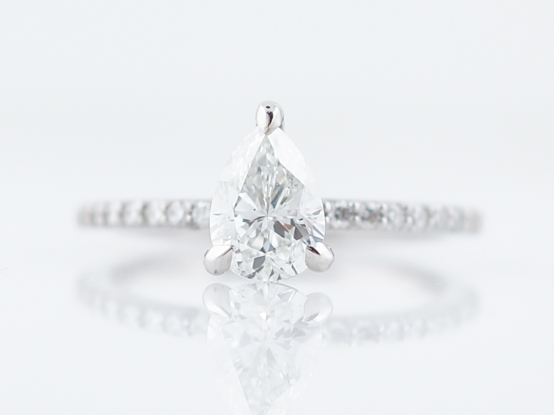 1 Carat Pear Diamond Solitaire Engagement Ring 14k