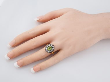 Right Hand Ring Modern 1.04 Oval Cut Peridot & 1.00 Round Brilliant Cut Diamonds in 18K Yellow Gold & Sterling Silver