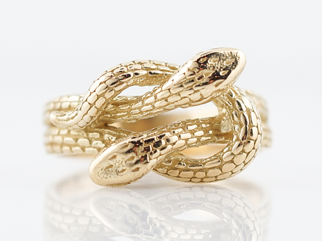 Antique Snake Right Hand Ring Victorian In 18k Yellow Gold