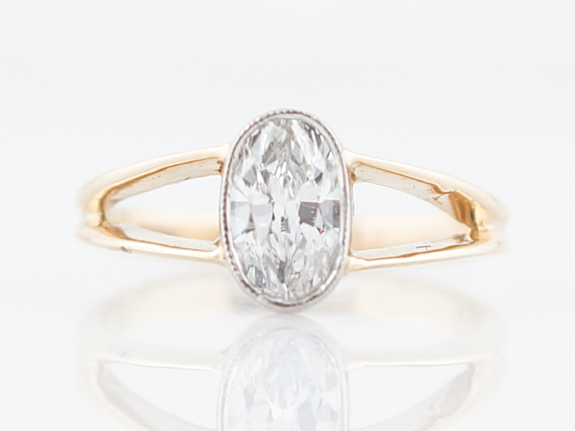 engagement ring modern 63 oval cut diamond in 14k yellow gold
