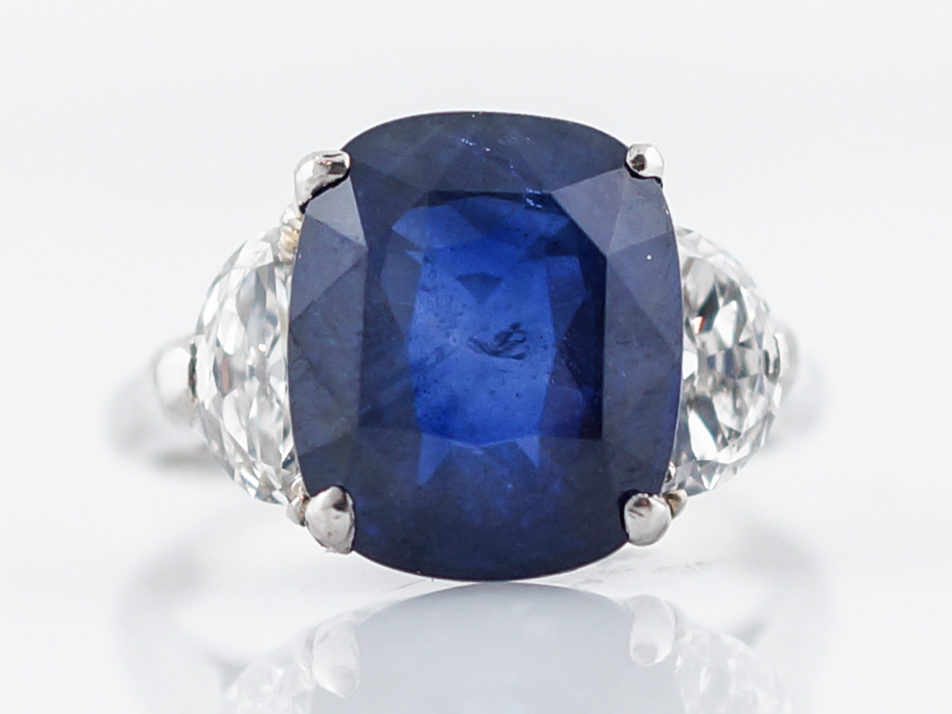 engagement in cushion ring blue gold sapphire and diamond halo cut carat white