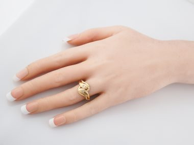 Antique Right Hand Snake Ring Victorian .06 Old European Cut Diamonds in 18K Yellow Gold