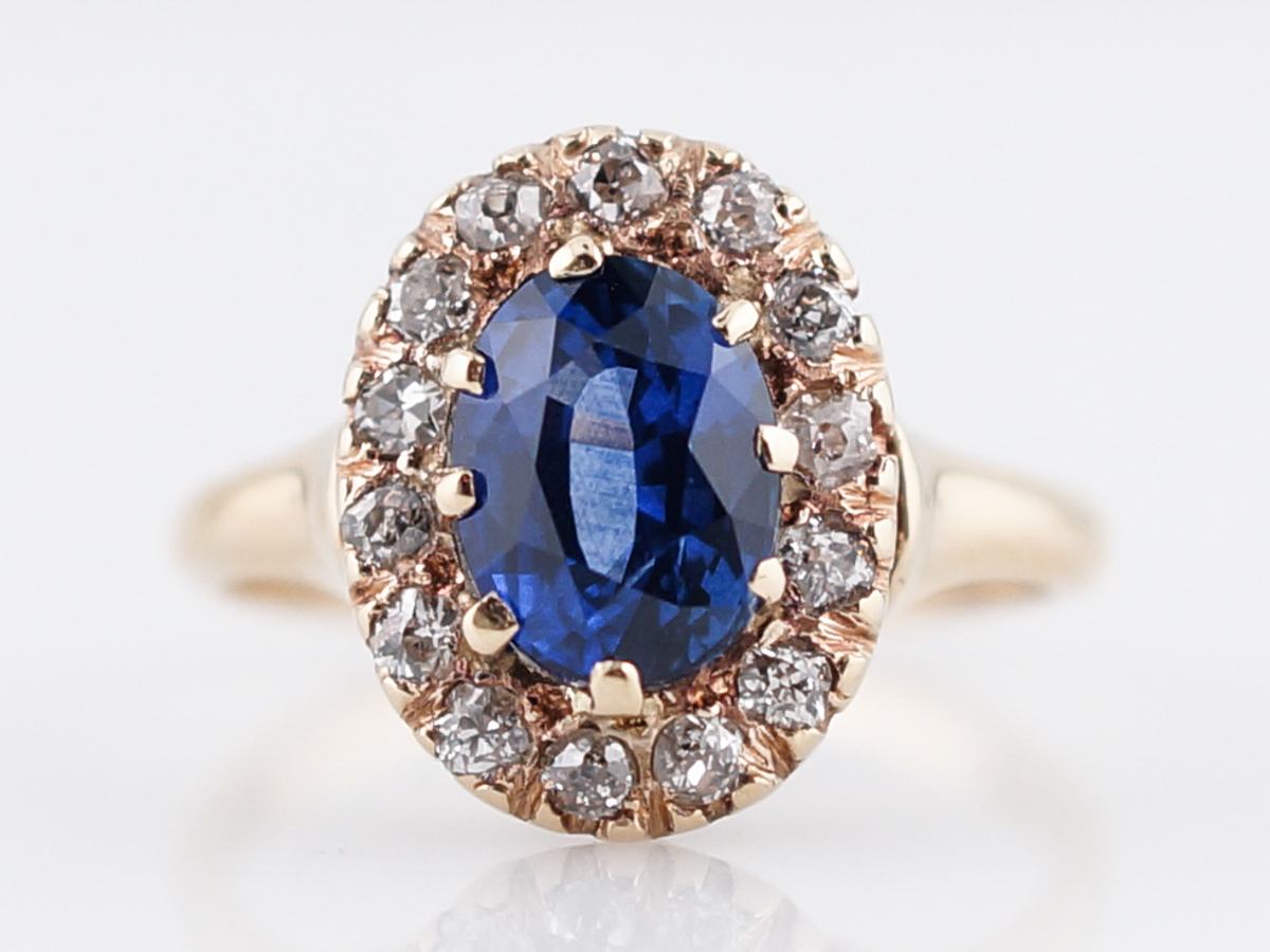 Vintage Old Mine Cut Sapphire Amp Diamond Engagement Ring