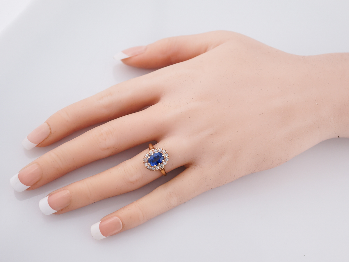 Antique Engagement Ring Victorian 1.77 Old Mine Cut Sapphire