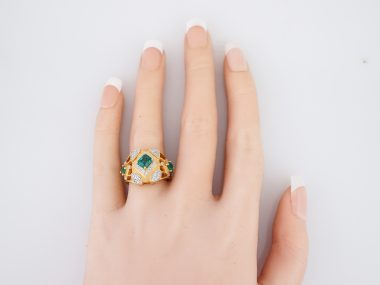 Vintage Right Hand Ring Mid-Century .60 Emerald Cut Emerald in 20K Yellow Gold