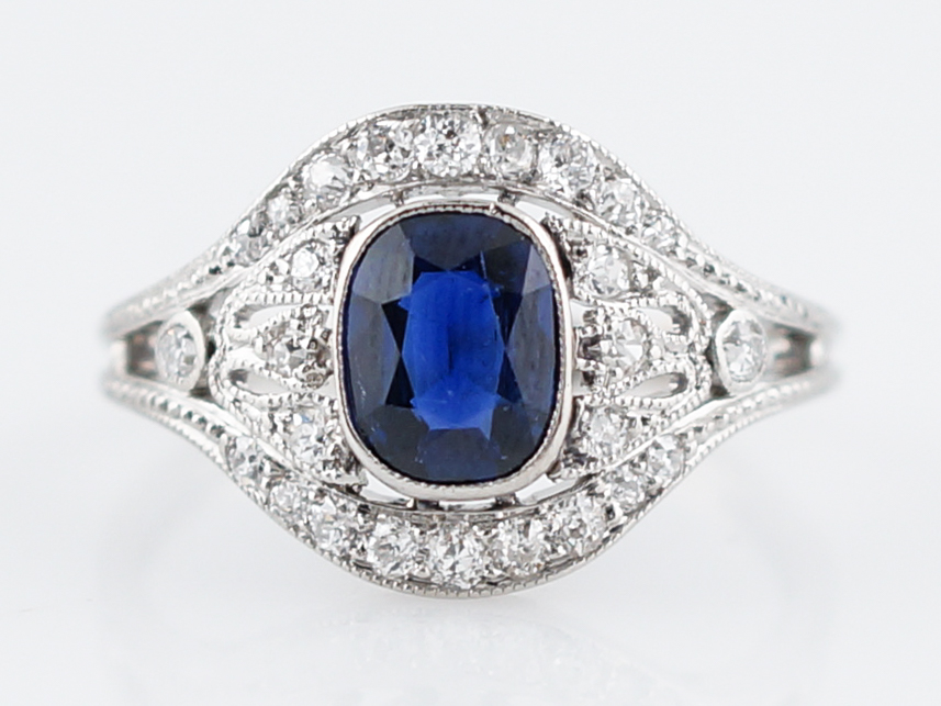 prive cushion diamond halo platinum double ring product with omi sapphire priv and cut