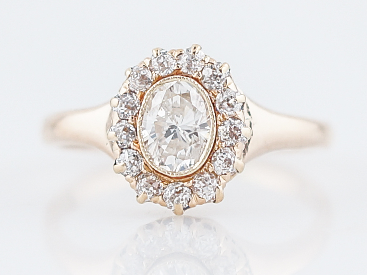 e7f7a11e875fc Antique Engagement Ring Victorian .41 Oval Cut Diamond in 14k Yellow Gold