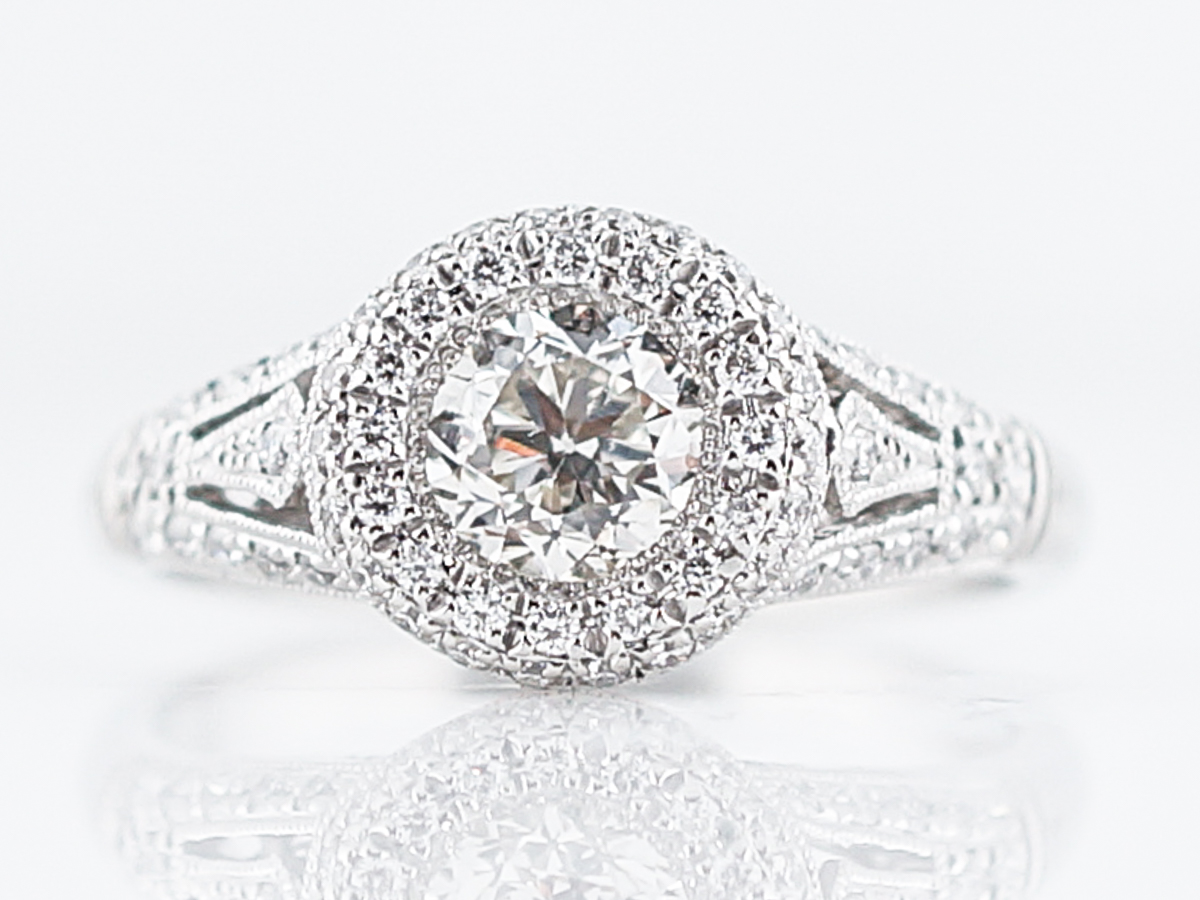 Vintage Style Diamond Cluster Engagement Ring in Platinum