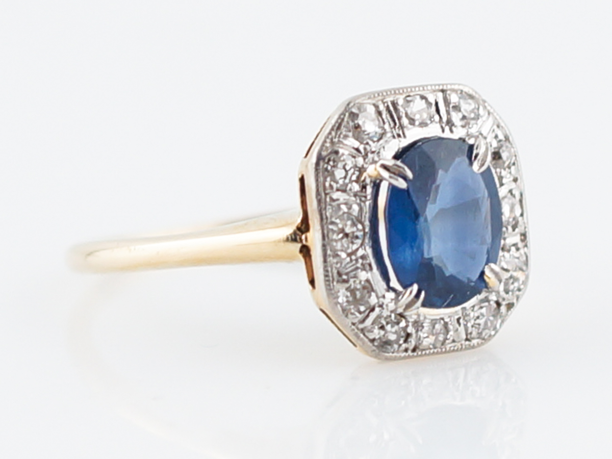 Antique Engagement Ring Victorian 1 17 Oval Cut Sapphire