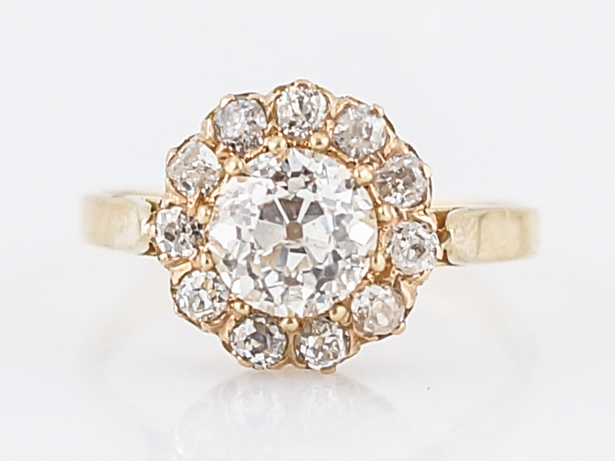 Victorian 1 Carat Diamond Halo Engagement Ring in 14k