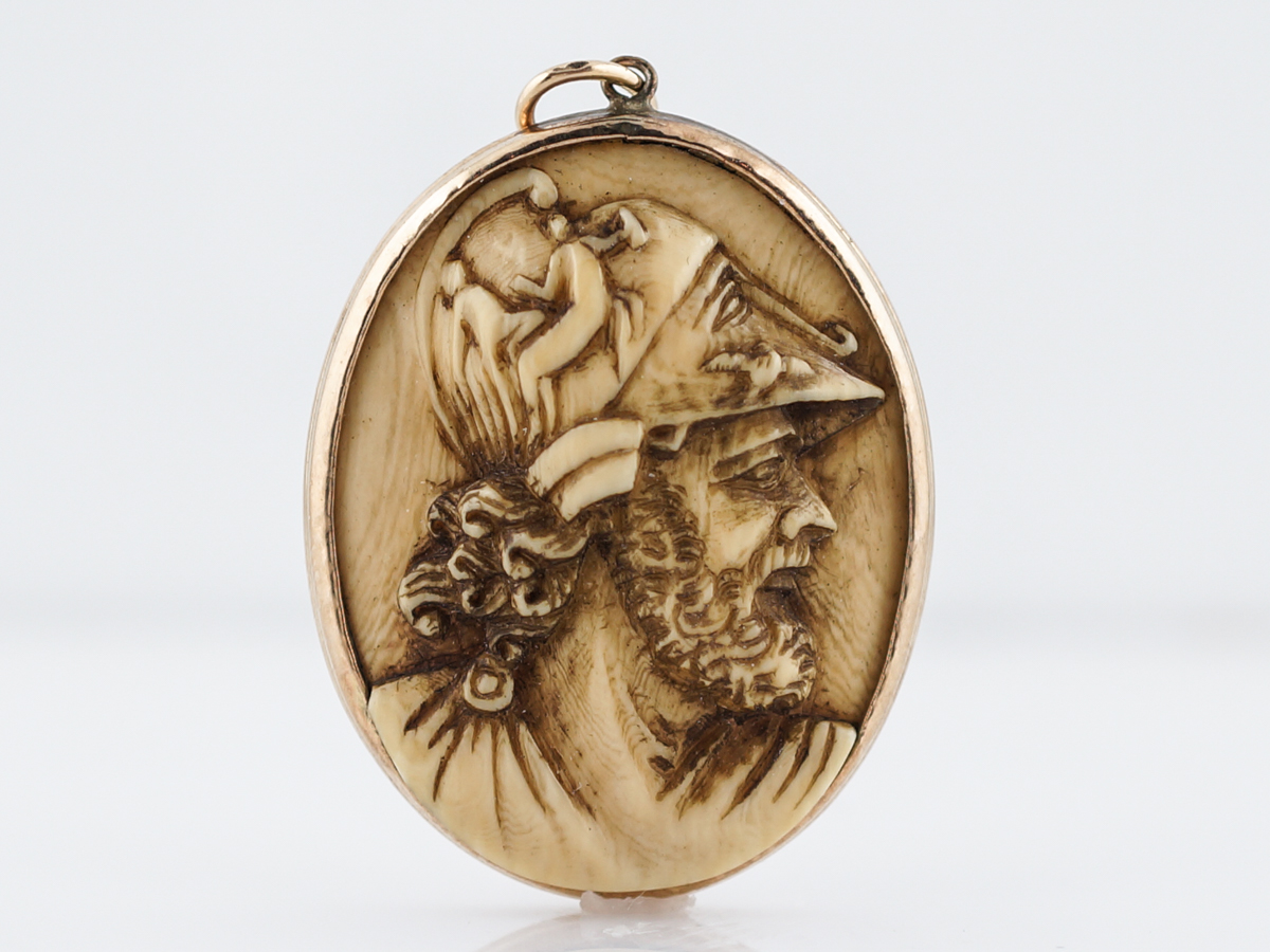 Antique pendant charm face victorian carved petrified wood in 14k home estate fine jewelry aloadofball Images