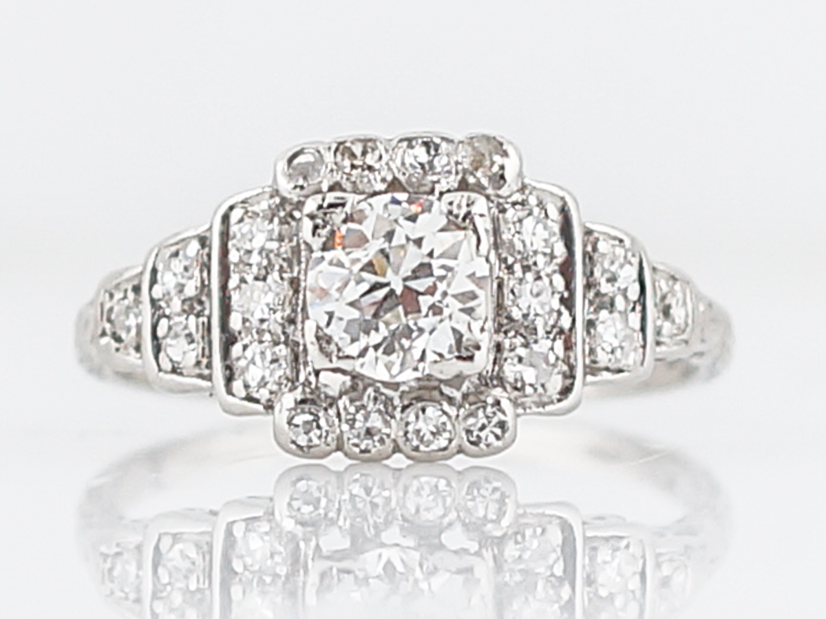 1920's Art Deco Step Style Engagement Ring in Platinum
