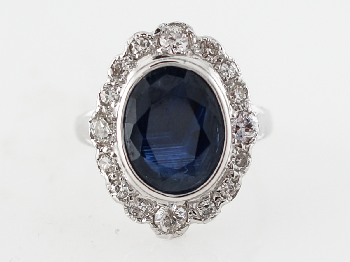 Antique Right Hand Ring Art Deco 2.86 Old Mine Cut Sapphire in 18k White Gold