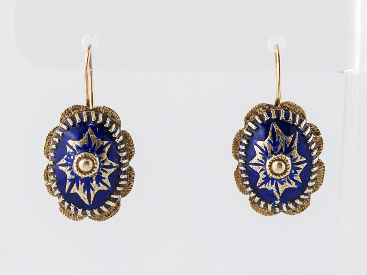 Antique Earrings Victorian Blue Enamel in 14k Yellow Gold