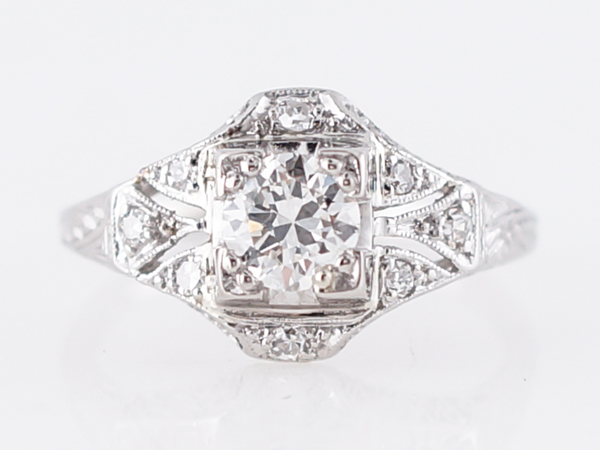 Antique Estate Diamond Filigree Engagement Ring in Platinum