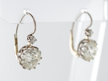 Earrings Dangle Drop Modern 5.58 Old European Cut Diamonds in 18K White Gold