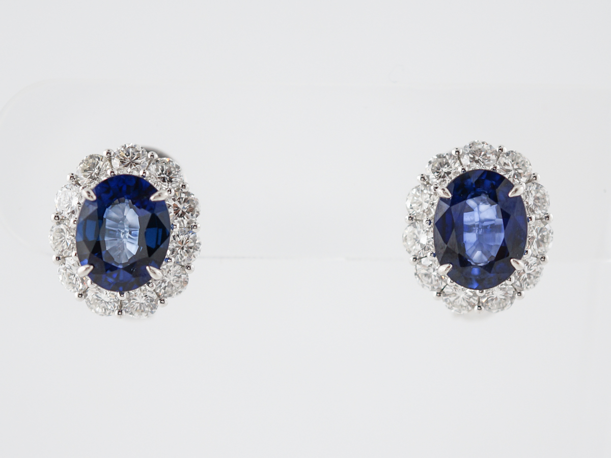 Earrings Modern 5.87 Oval Cut Sapphires & 2.59 Round Brilliant Cut Diamonds in Platinum