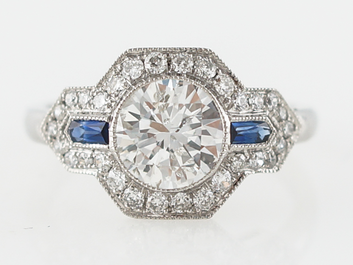 Engagement Ring Modern 1.18 Round Brilliant Cut Diamond & .19 Shield Cut Sapphires in Platinum
