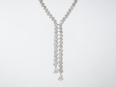 Necklace Modern 12.35 Round Brilliant & Pear Cut Diamonds in 18k White Gold