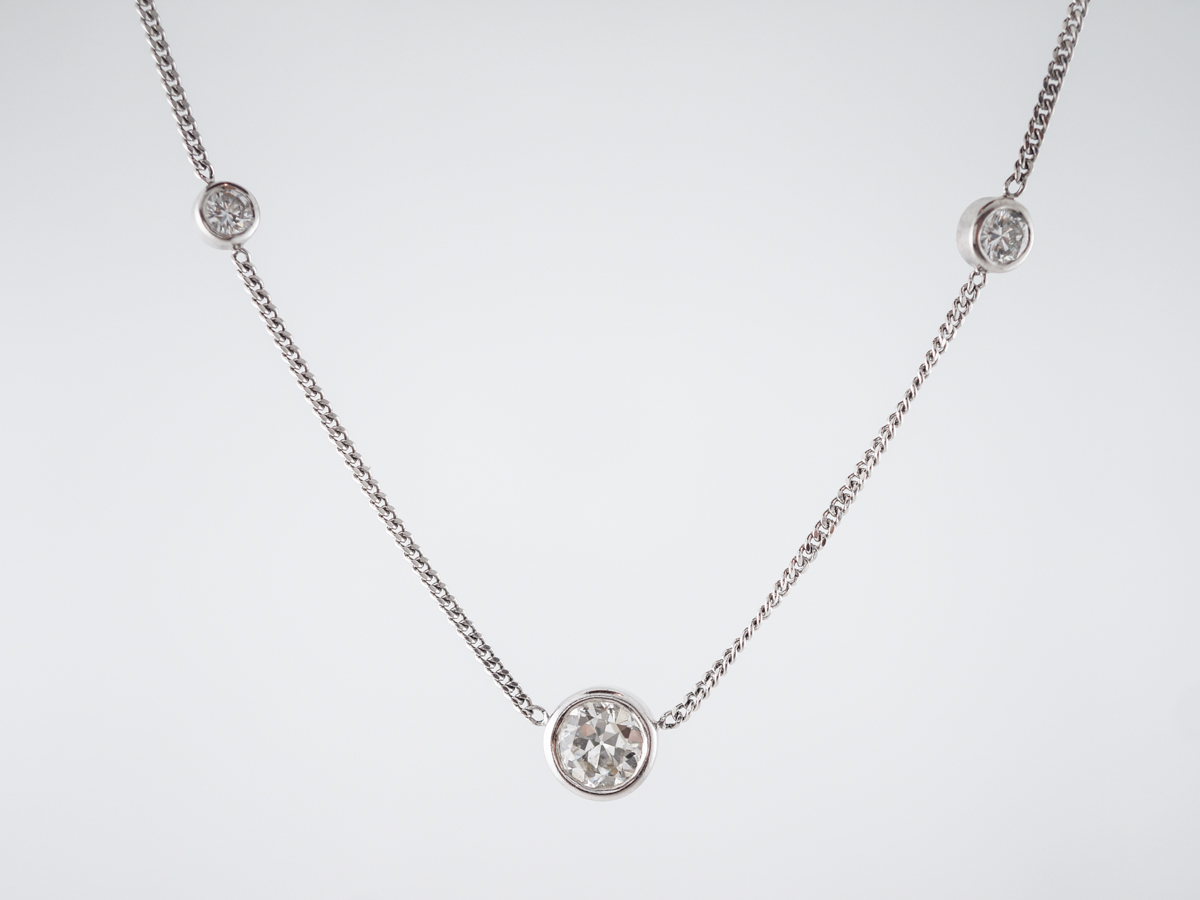 Necklace Modern 2.34 Old European & Round Brilliant Cut Diamonds in Platinum