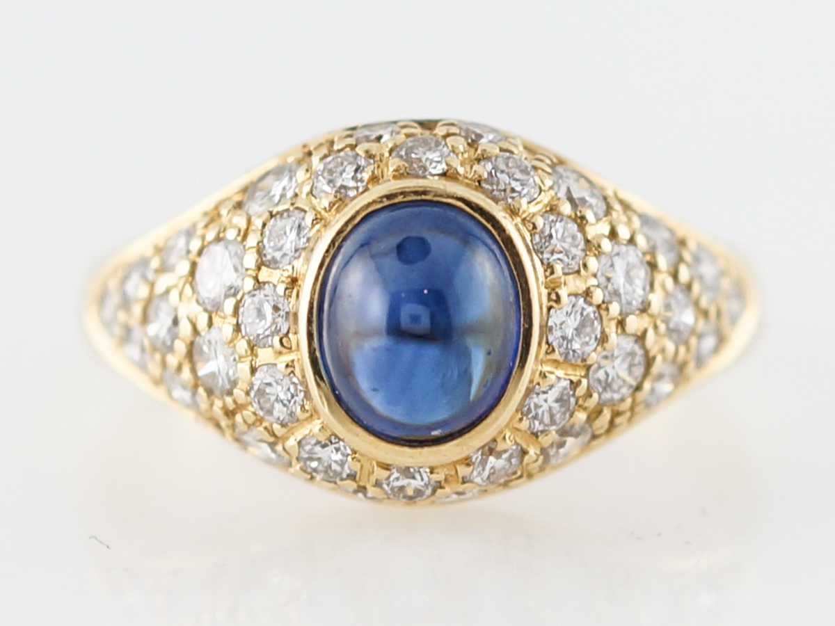 Right Hand Ring Modern 1.64 Cabochon Cut Sapphire in 18k Yellow Gold