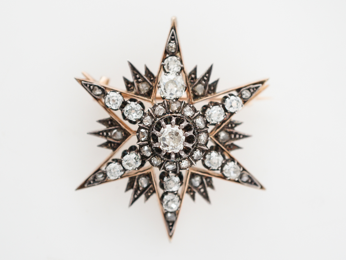 Antique Brooch Pendant Victorian Starburst 3.50 Old Mine, Rose Cut Diamond in 14k Yellow Gold & Sterling Silver