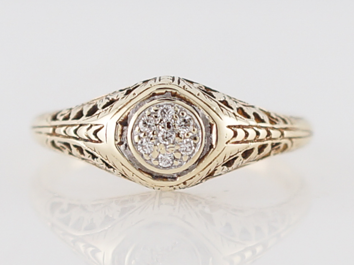 Art Deco Yellow Gold Diamond Filigree Engagement Ring
