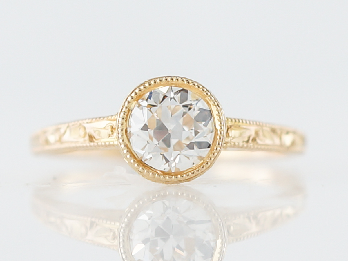 Antique Engagement Ring Art Deco .77 Old European Cut Diamond in 14k Yellow Gold