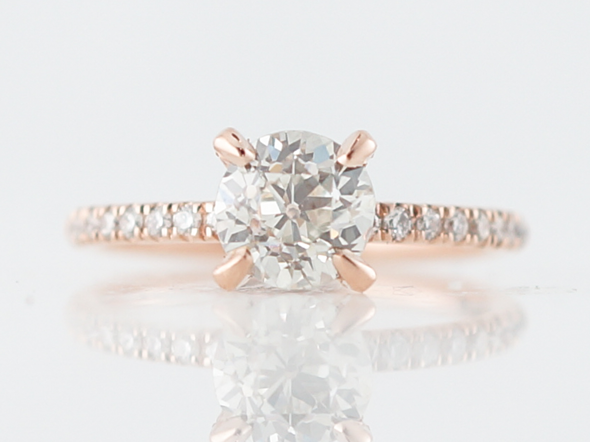1 Carat Old Mine Diamond Solitaire Engagement Ring in Rose Gold