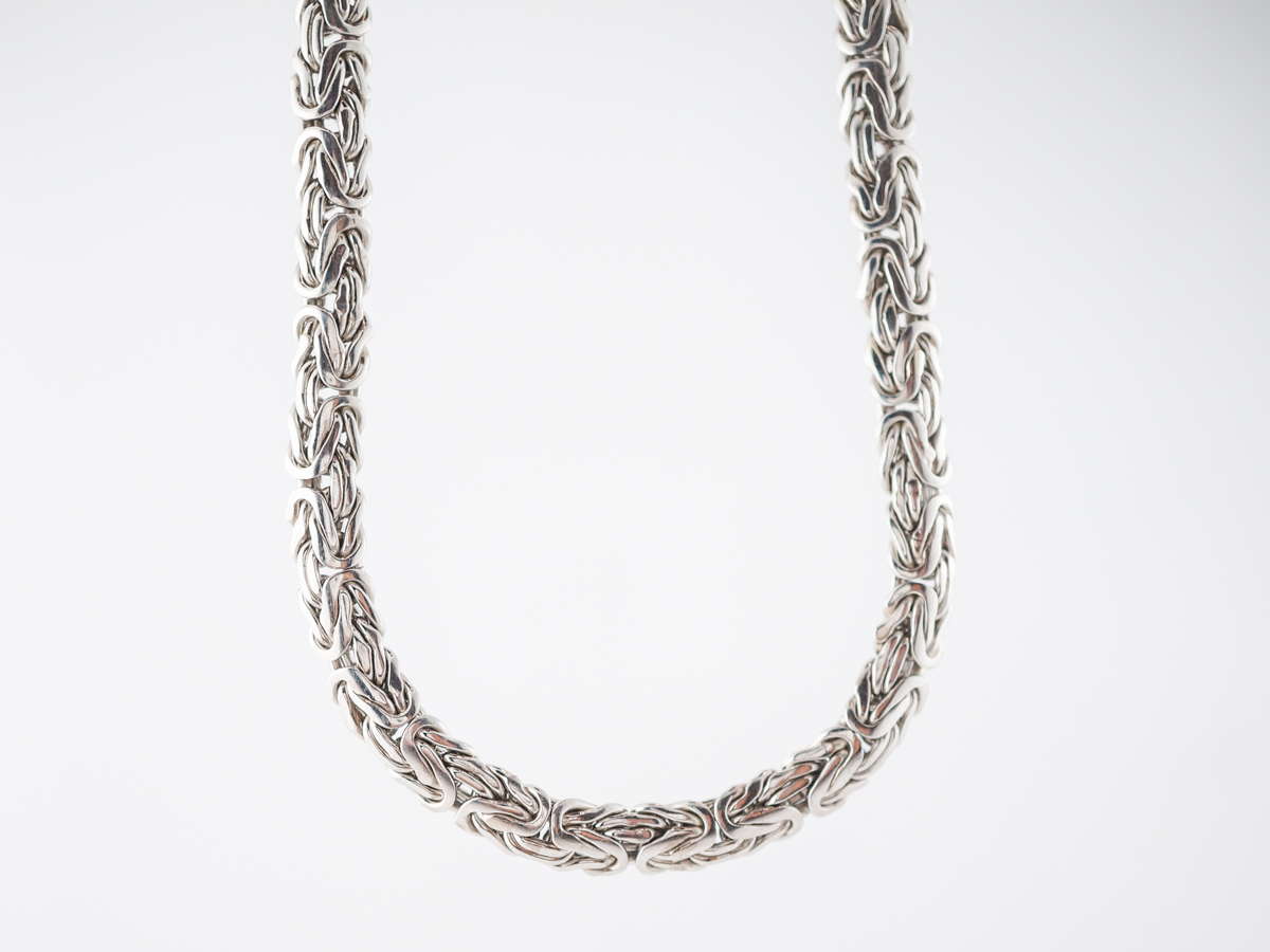 Modern Necklace Woven Chain in Platinum