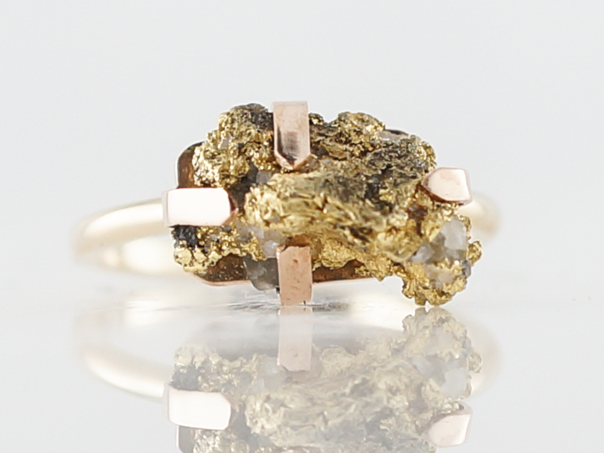 Right Hand Ring Modern Gold Nugget in 14k Yellow Gold