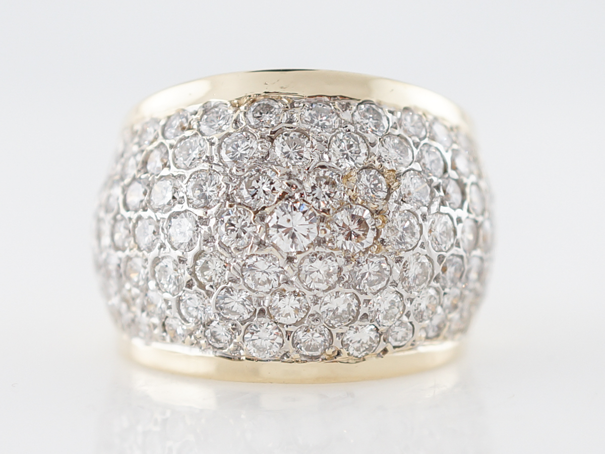 Right Hand Ring Pave Modern 3.24 Round Brilliant Cut Diamond in 14k Yellow Gold