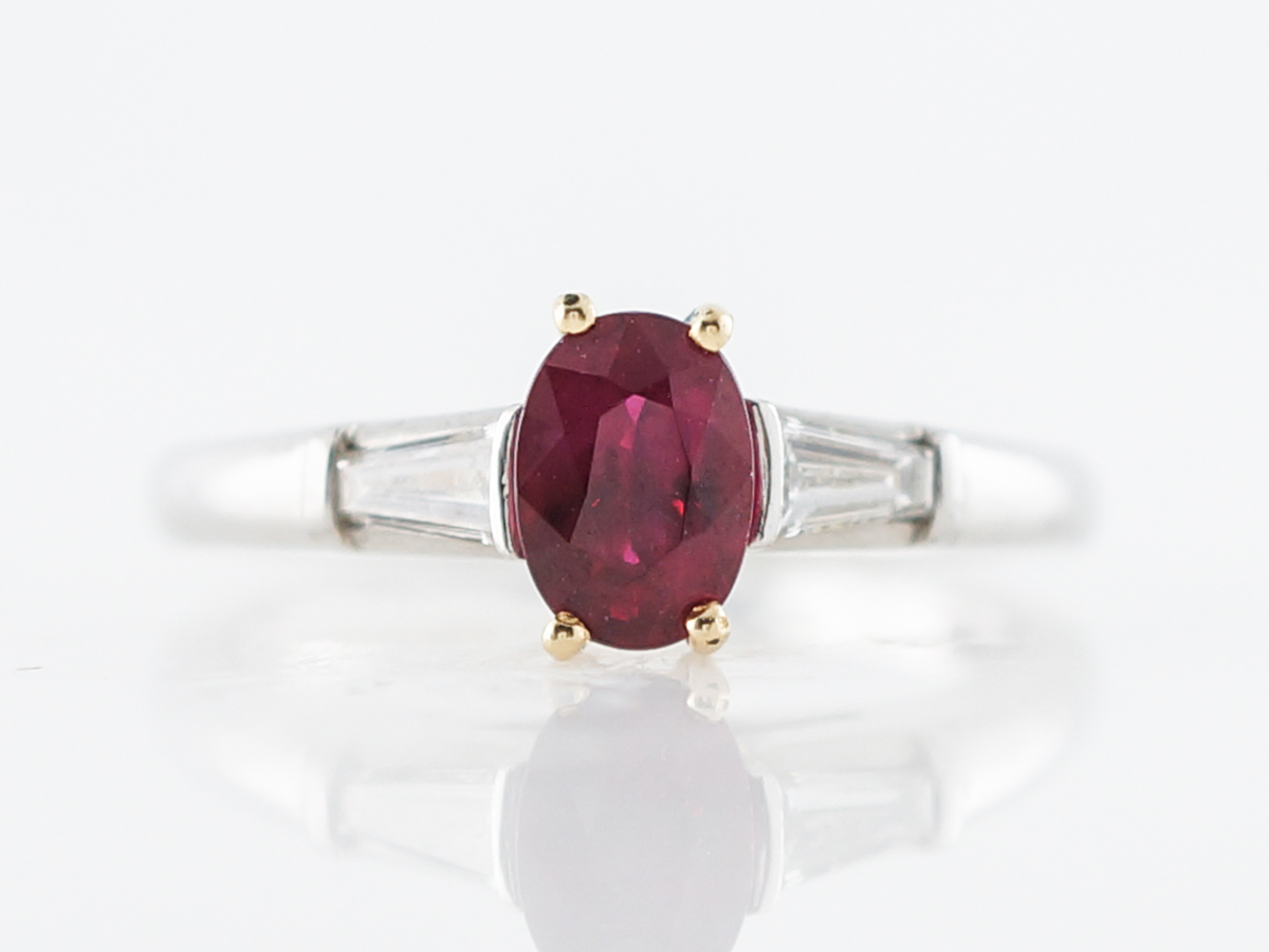 Tiffany & Co. Engagement Ring Modern .98 Oval Cut Ruby Platinum & 18k Yellow Gold