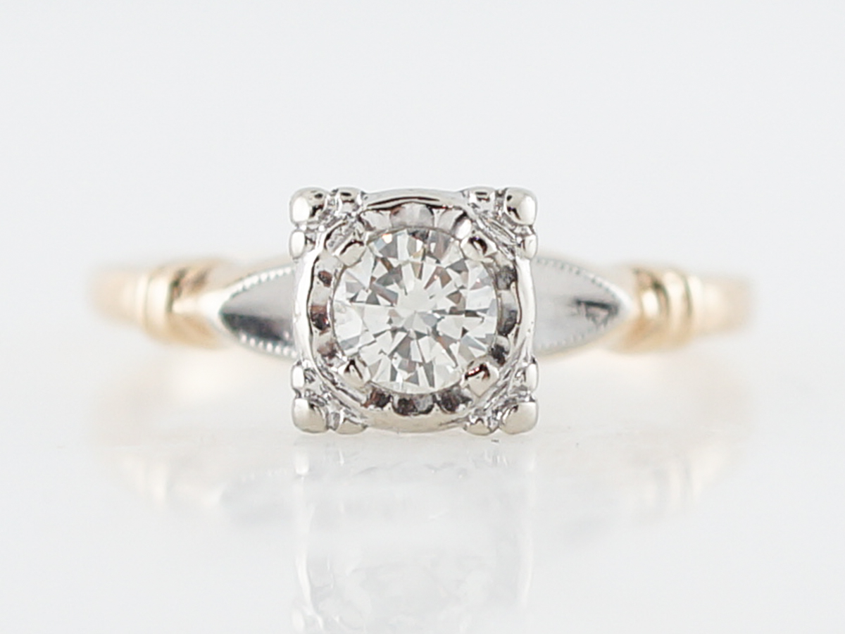 Retro 1940's Two Tone Diamond Solitaire Engagement Ring