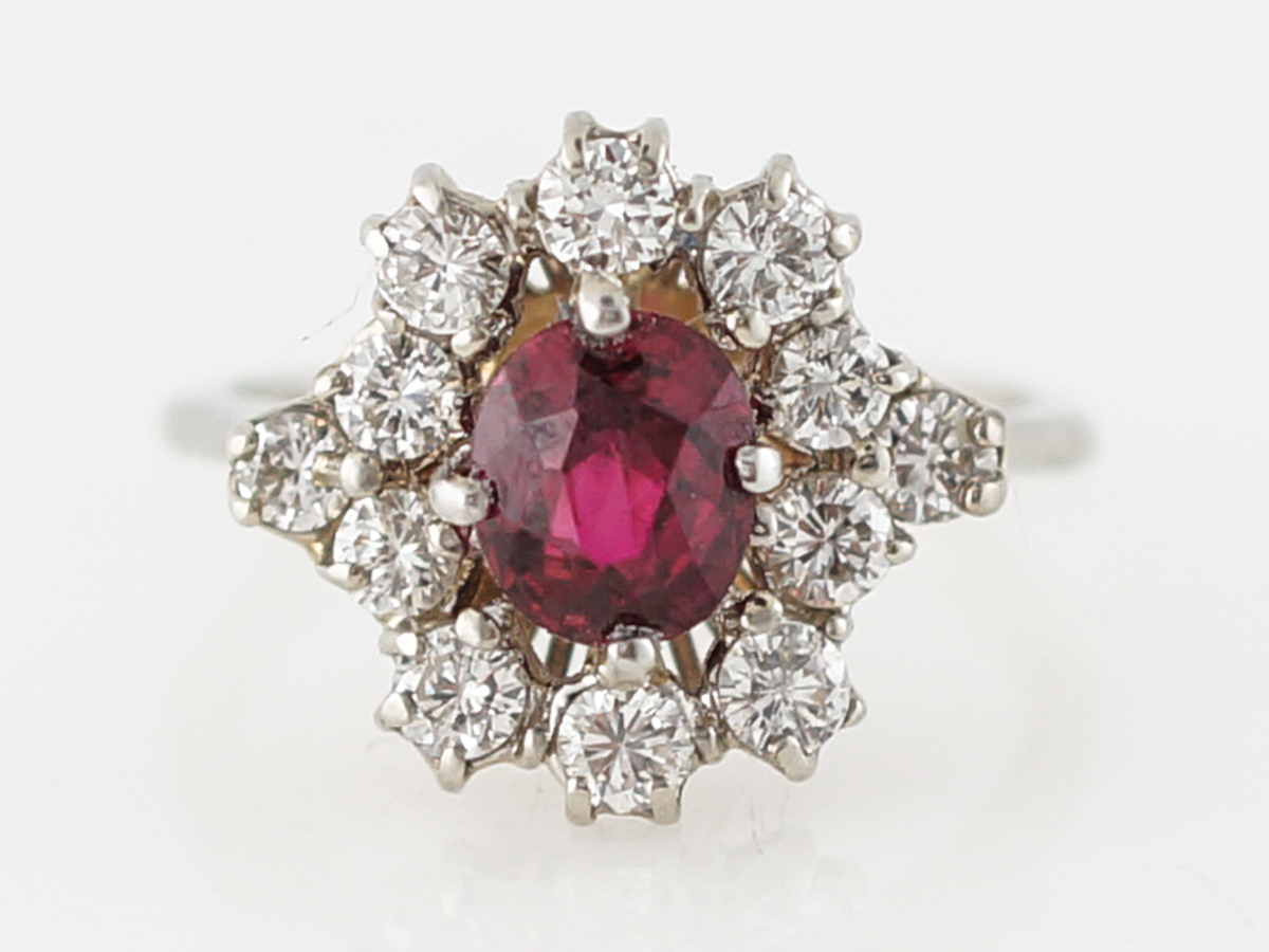 Vintage Engagement Ring Retro .97 Oval Cut Ruby in 18k White Gold