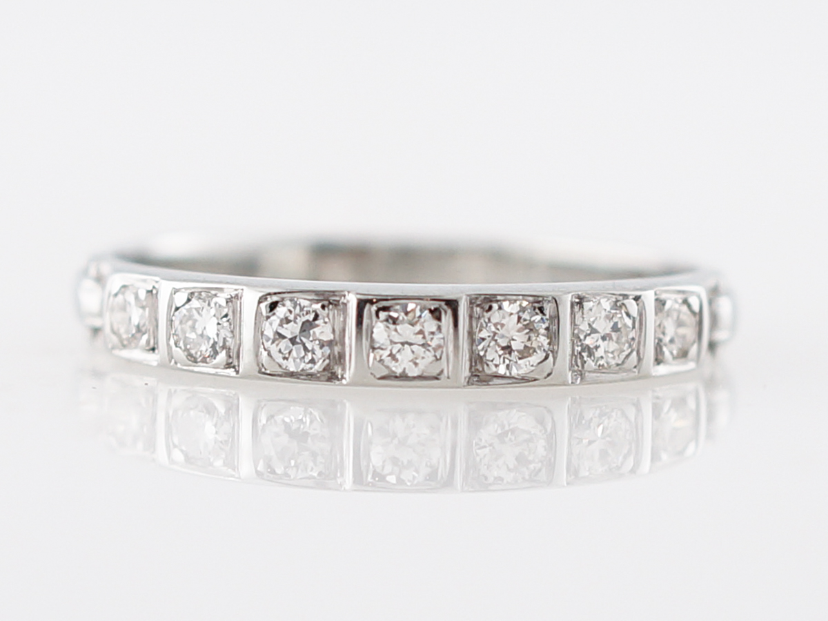 Vintage Wedding Band Mid Century .28 Round Brilliant Cut Diamonds in 18k White Gold