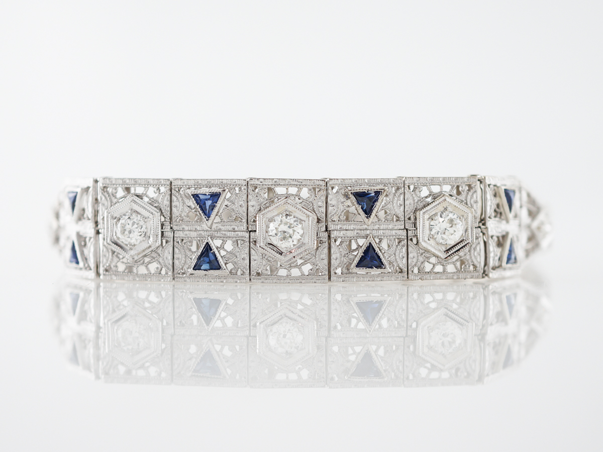 Antique Bracelet Art Deco .76 Old European Cut Diamond & Sapphires in Platinum & 14k White Gold