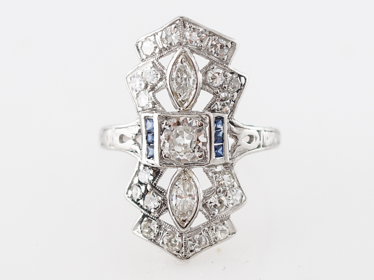 Antique Right Hand Ring Art Deco .35 Old European Cut Diamond & Sapphires in Platinum