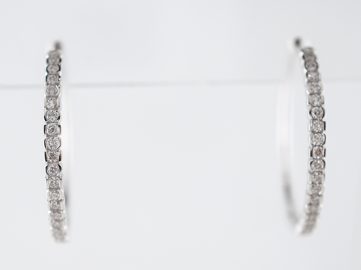 Earring Hoops Modern .48 Round Brilliant Cut Diamonds in 14k White Gold