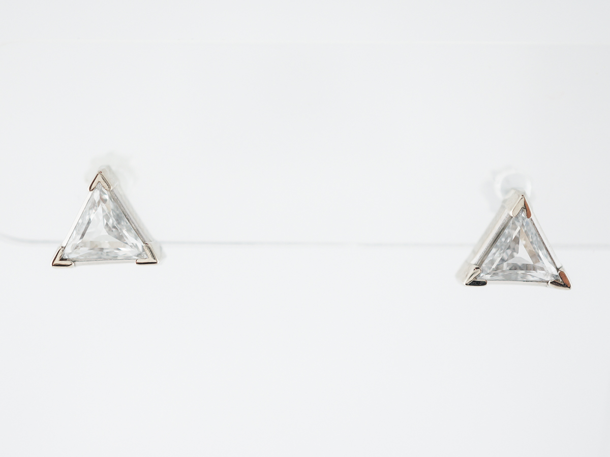 Earring Studs Modern 1.06 Trilliant Cut Diamonds in 14k White Gold
