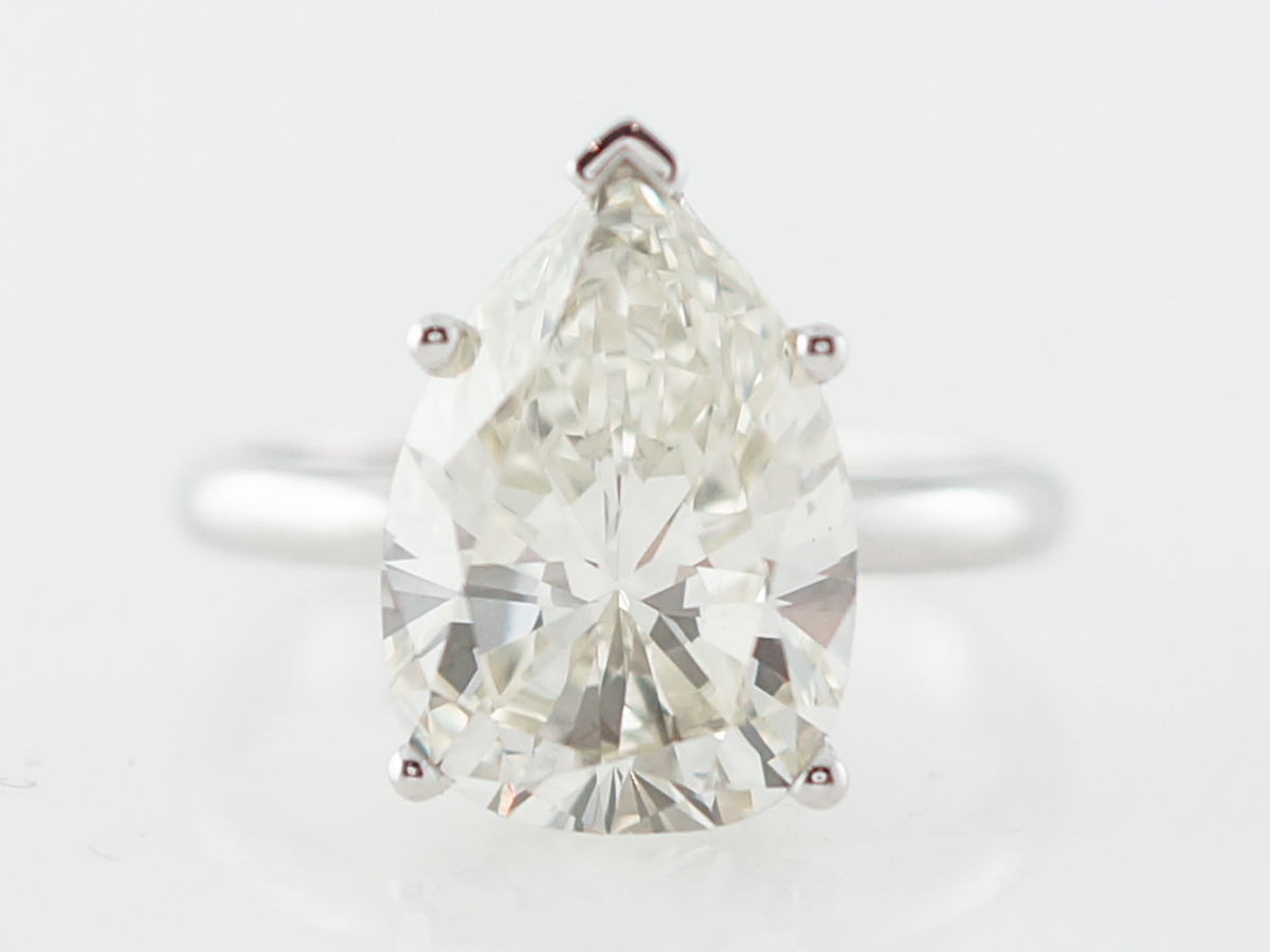 GIA 4 Carat Pear Cut Diamond Solitaire Engagement Ring