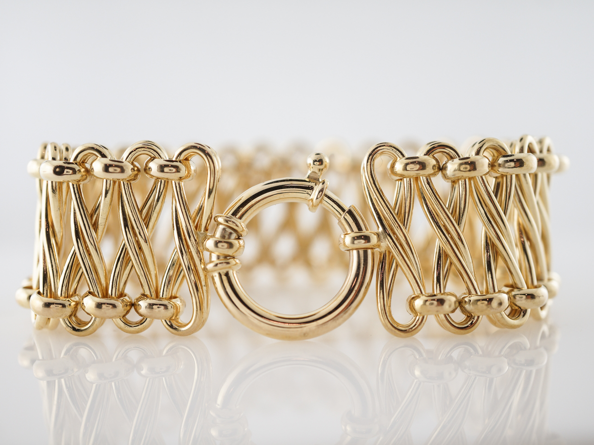 Modern Italian Bracelet in 14k Yellow Gold
