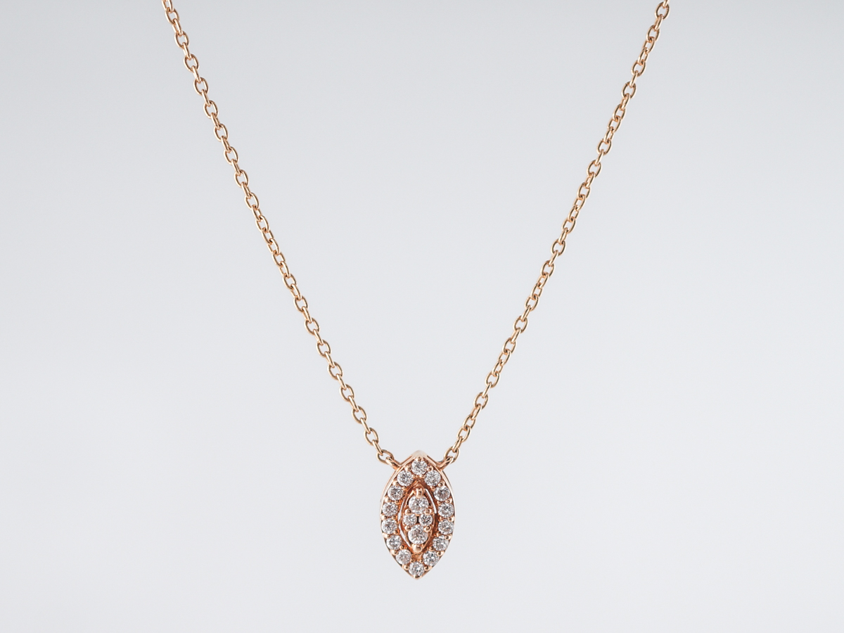 Necklace Modern .19 Round Brilliant Cut Diamond in 18k Rose Gold