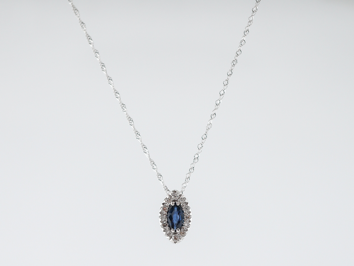 Necklace Modern .90 Marquise Cut Sapphire in 14k White Gold